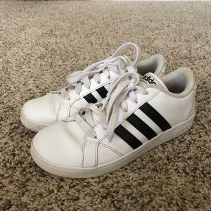 Youth Adidas Neo leather 3-stripe sneaker shoes
